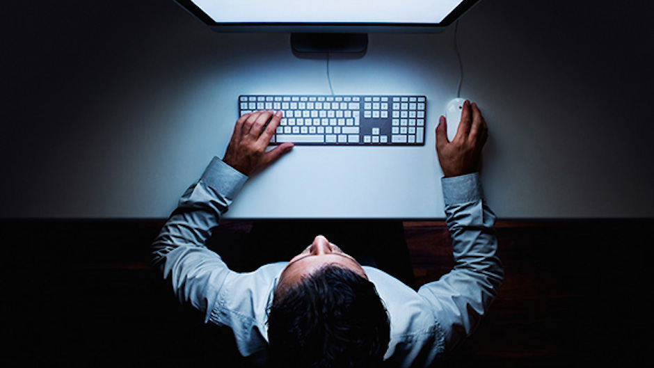 man-computer-top-view-night