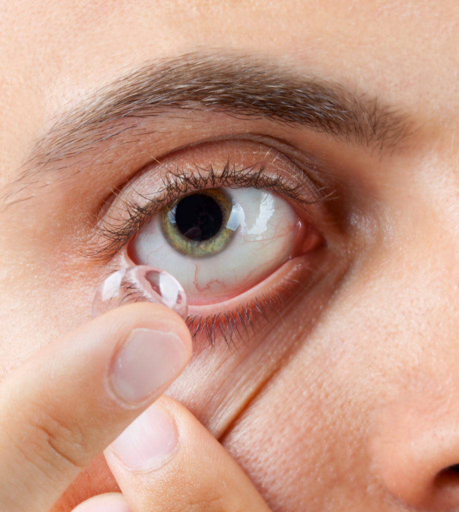view of a mans green eye while inserting a LAHQRB5 919x1024 - Amazing Contact Lenses With Wink Activation Technology