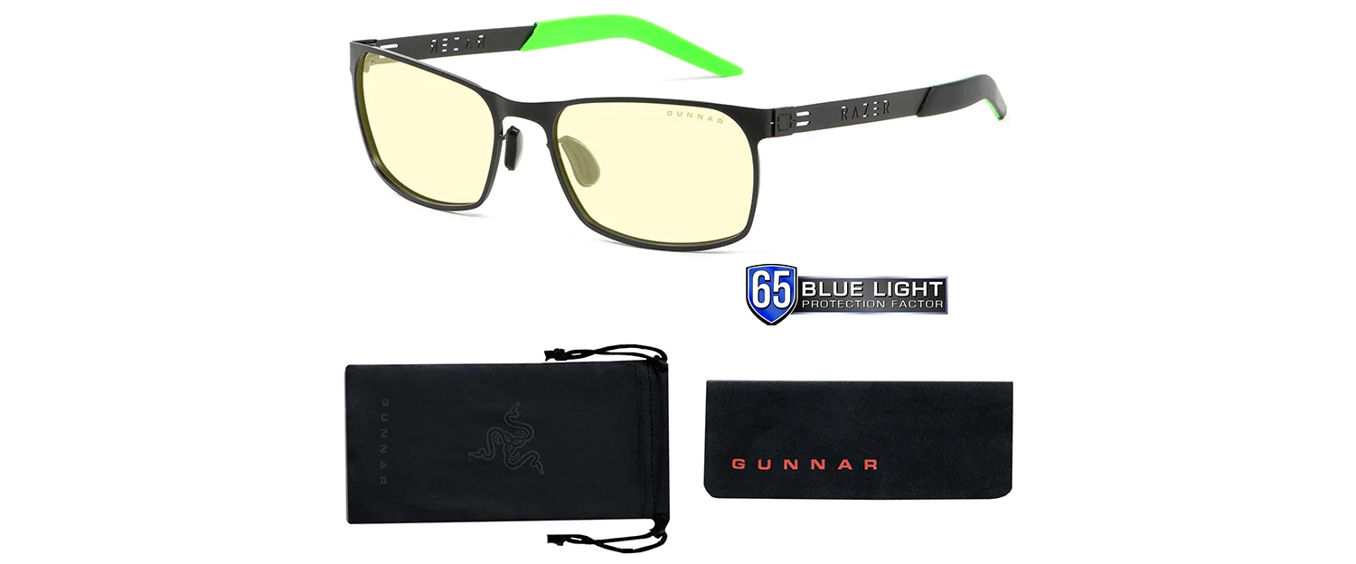fps razer blue light gaming glasses with pouch