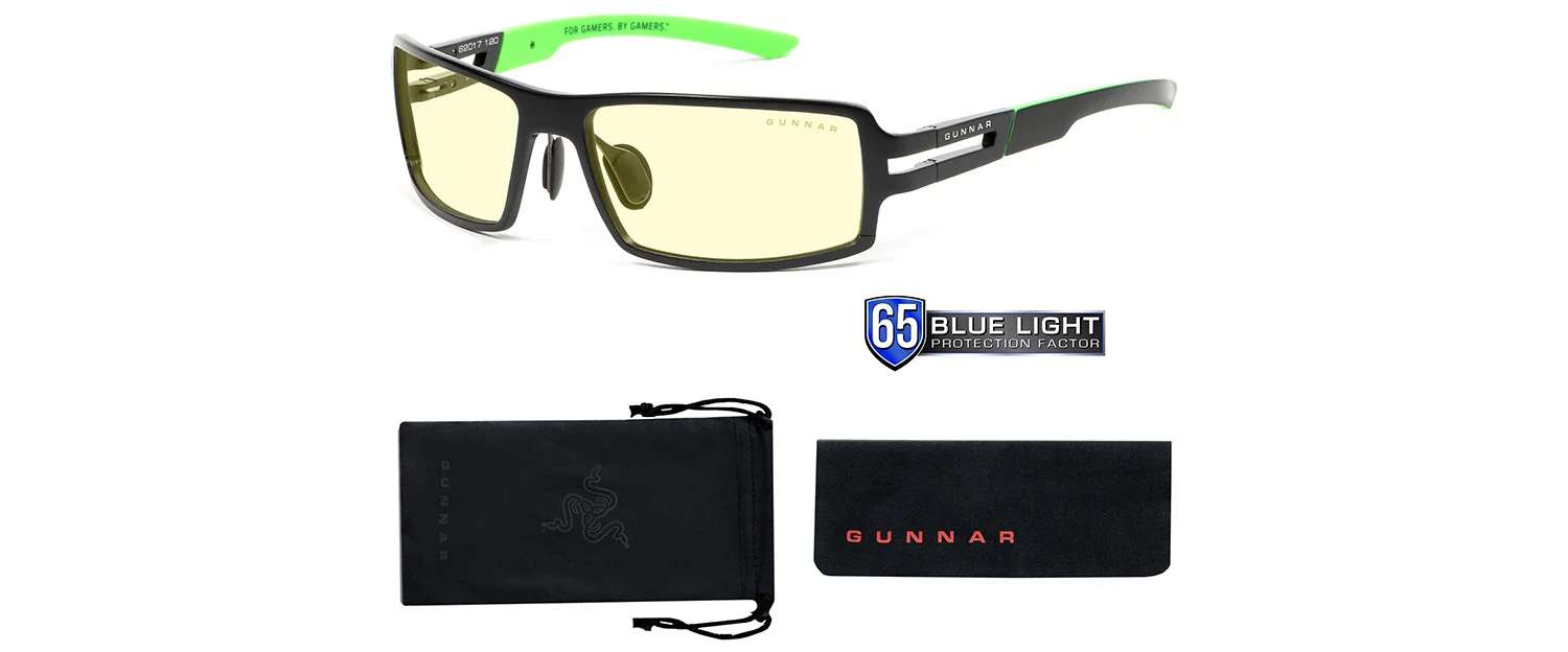 rpg razer blue light gaming glasses with pouch