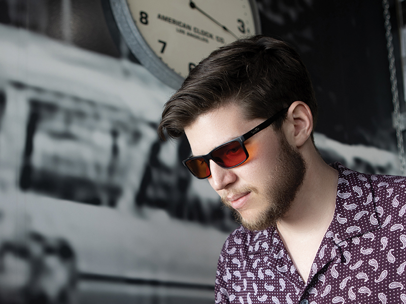 man wearing Amber Max sleep glasses
