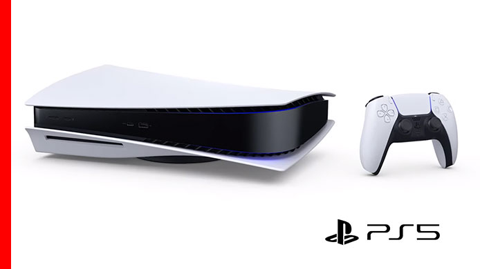 new PS5 console on its side and dualsense controller