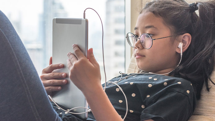 E-reading is perfect for young readers who don't have to carry heavy books