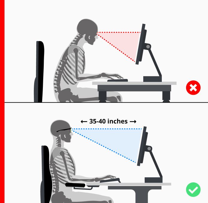 recommended distance for your computer monitor to avoid computer vision syndrome
