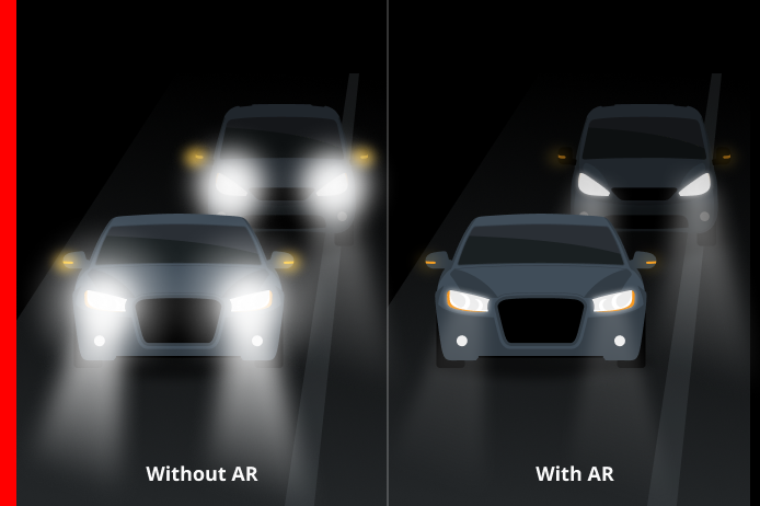 oncoming traffic lights without and with AR coating