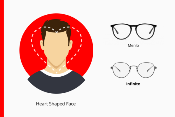 Heart-shaped box over a mans face showing a wide forehead and narrow chin next to GUNNAR Menlo and Infinite glasses