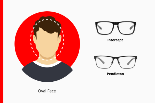 Vertical oval outline over a mans face showing a longer face than it is wide next to GUNNAR Intercept and Pendleton glasses