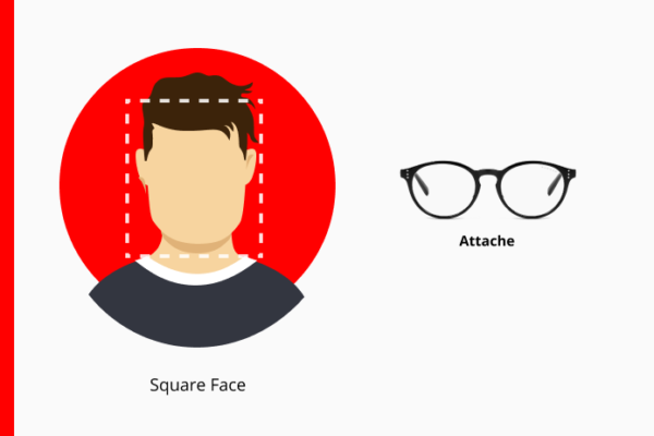 Square box over a diagram of a mans face showing similar approximate dimensions next to GUNNAR Attache glasses