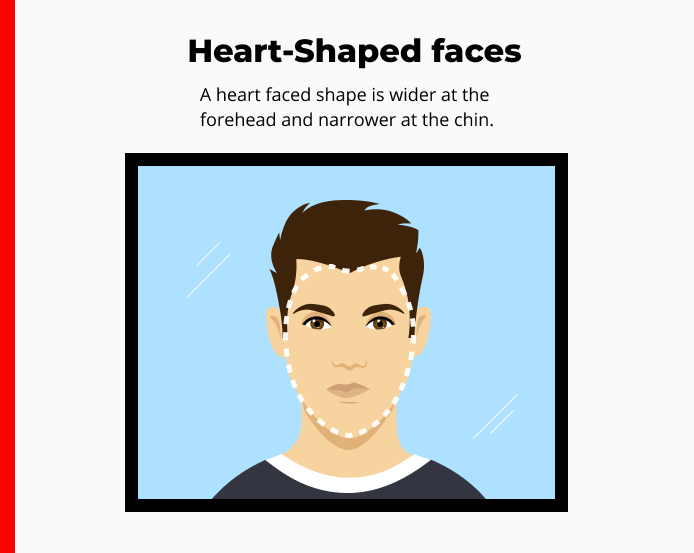cartoon drawing of a man standing in front of a mirror with a dotted line tracing the outline of his heart-shaped face