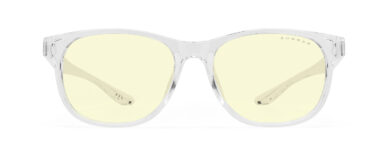 gunnar rush youth blue light glasses in clear frame and amber lens profile view