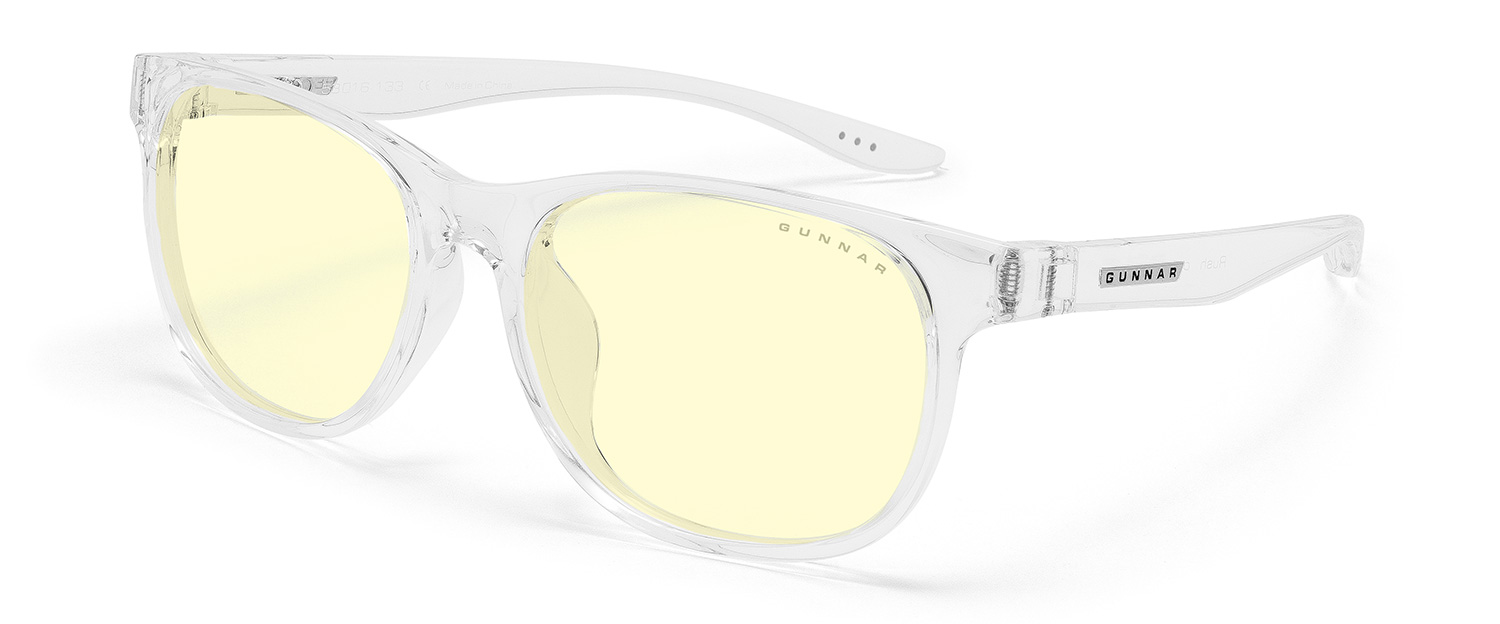gunnar rush screen glasses for kids ages 8-12 in clear frame and amber lens