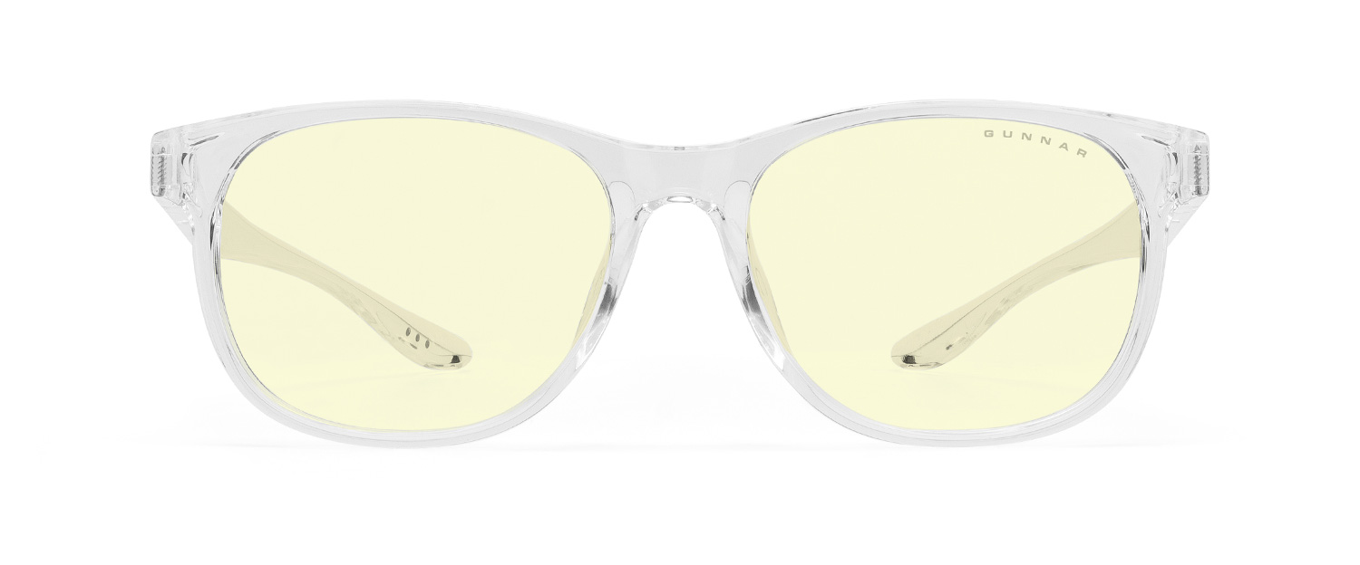 gunnar rush screen glasses for kids in clear frame and yellow tinted lens
