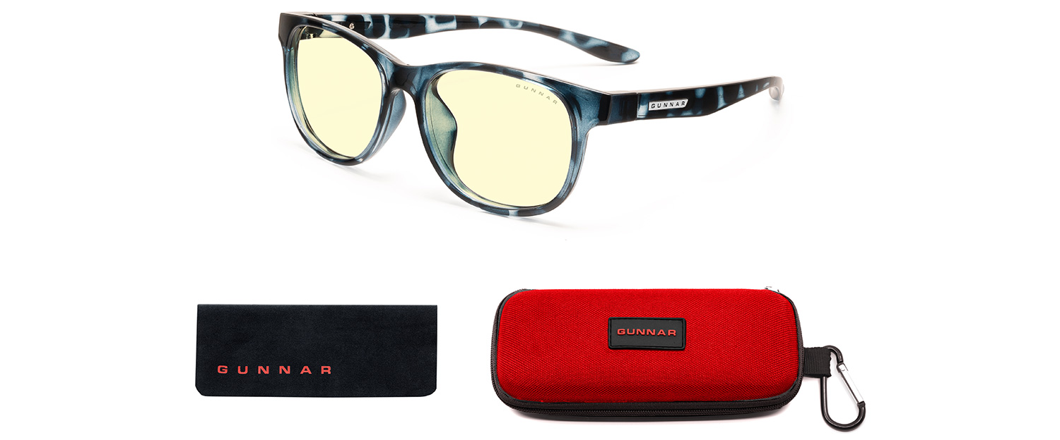 gunnar rush screen glasses for kids in navy tortoise frame and amber lens with case and cloth