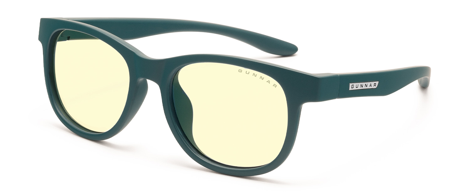 gunnar rush small computer glasses for kids in teal frame with amber lens