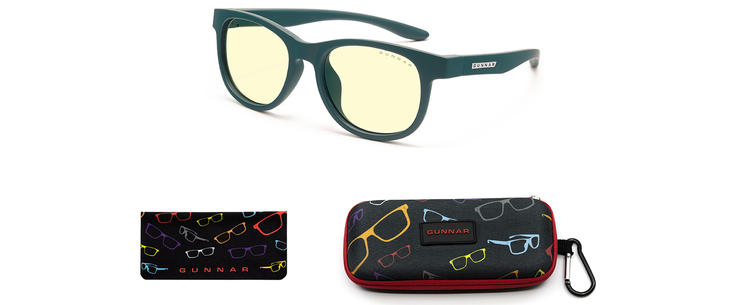 computer glasses for kids in teal frame and amber lens with case