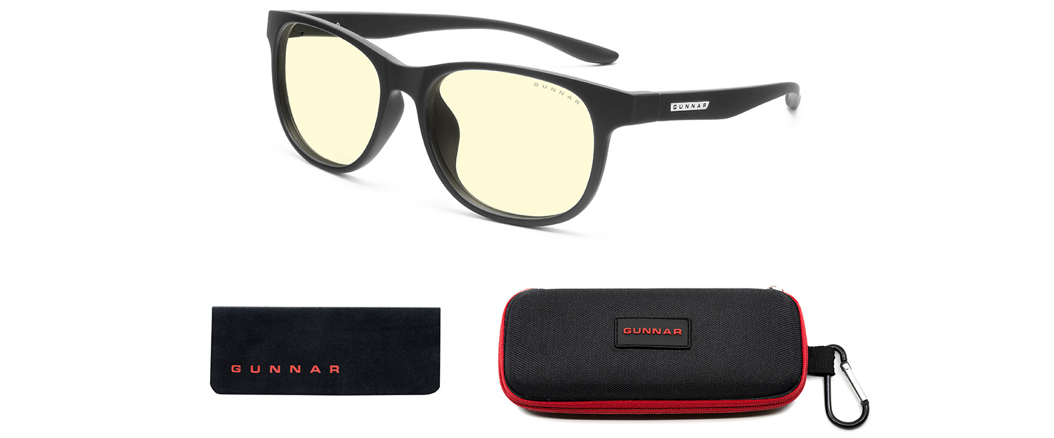 gunnar teen computer glasses in black frame and amber lens with case